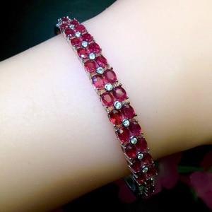 Image 2 - Natural ruby bracelet, hot quality, beautiful color, 925 sterling silver, adjustable size
