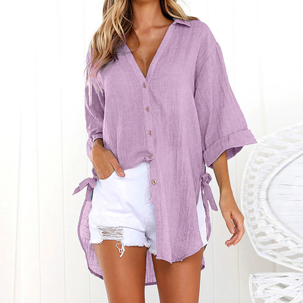 Womens blouses Loose Button Long Shirt Cotton Ladies Tops Tee Blouse summer womens tops and camisa feminina NEW