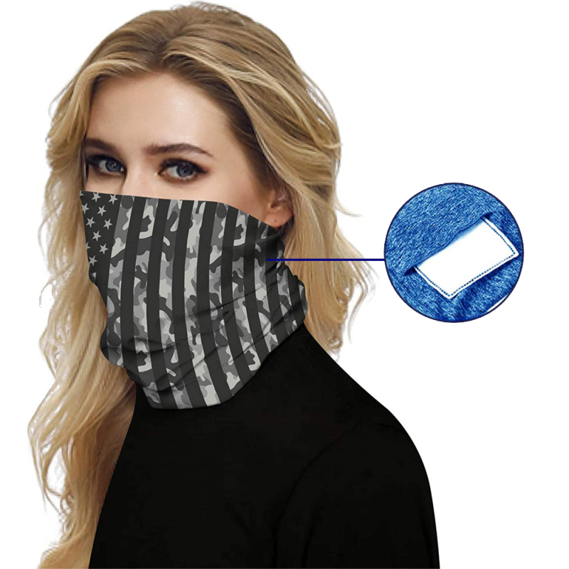 Windproof Bandana Hiking Scarves Men Women Cycling Face Mask Sports Arm Antiperspirant Towel Elastic Force Neck Scarf + Filter