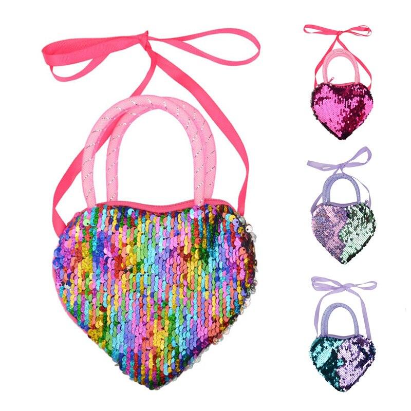 Girls Kids Children Sequins Crossbody Bags Coin Purse Mini Clutch Wallet Card Zipper Holder Storage Bag