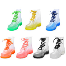Aleafalling Women Rain Boots Mature Lady Lace Up Waterproof Lady Shoes Transpare
