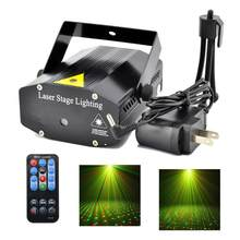 Mini Portable IR Remote Red Green Beam Discolamp Luz Laser Projector DJ KTV Home Xmas Party Show Dsico LED Stage Lighting(China)