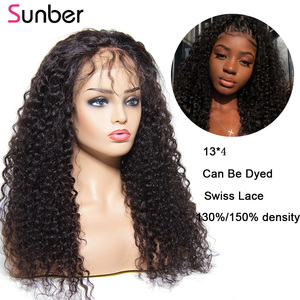Image 5 - Sunber Peruvian Deep Curly Lace Wig Pre Plucked 10 24 13x4/6 150/180% densityRemy glueless Lace Front Human Hair Wig For Women