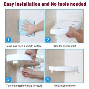 Image 3 - Bathroom Shower Shelf Multifunctional Corner Storage Rack 2 Hooks for Towel hanging Shampoo Holder Suction