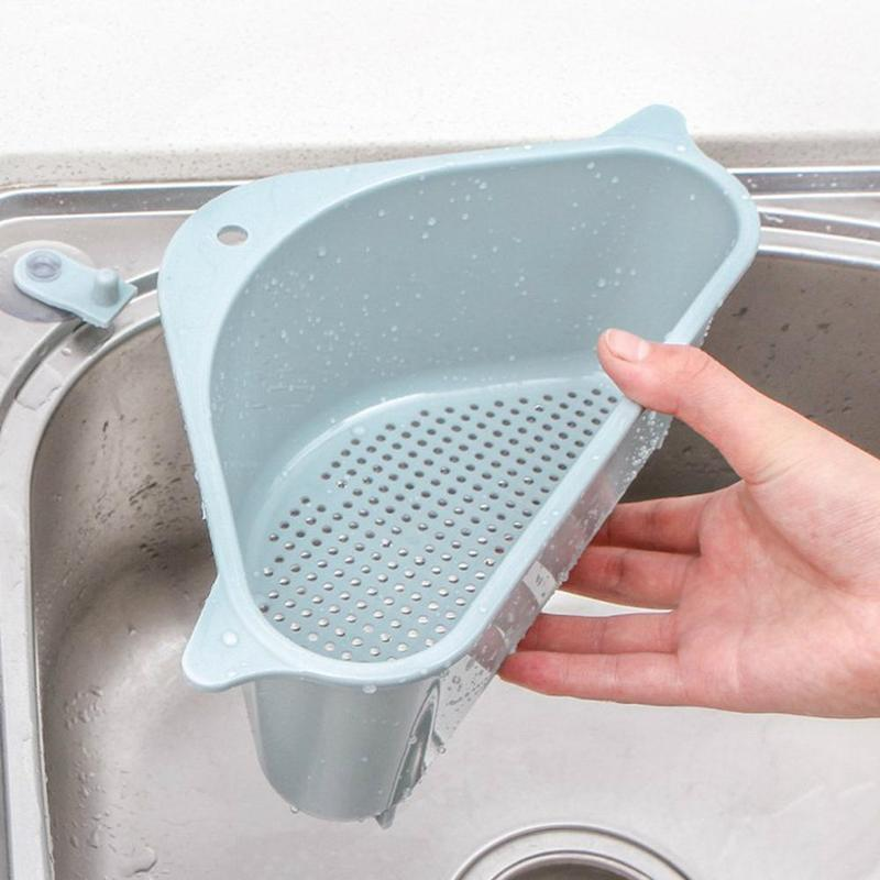 Kitchen Triangle Sink Drain Rack Vegetable Rack Household Triangle Hangable Storage Convenient Punch-Free Tray Storage Basket