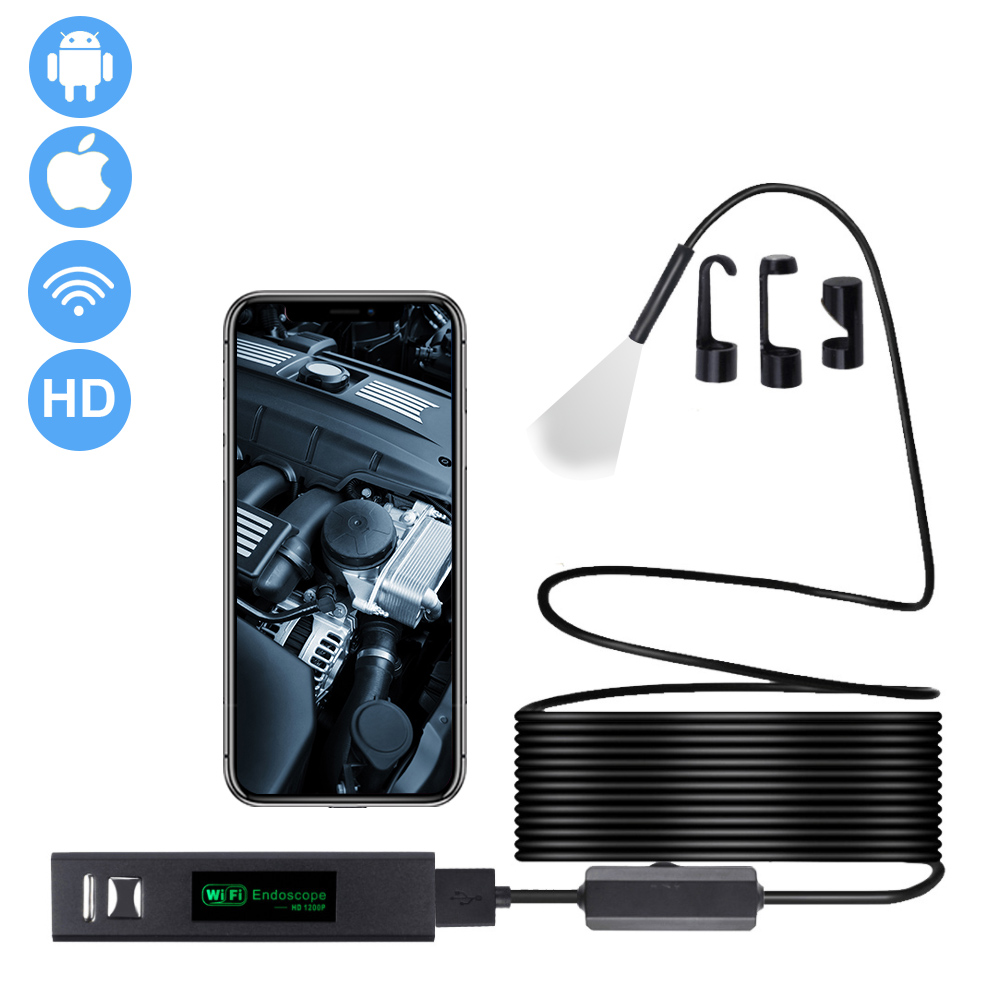 1200P Endoscope Camera Wifi Wireless Waterproof Inspection Camera Mini 8mm Adjustable LED  Borescope Camera For Android IOS