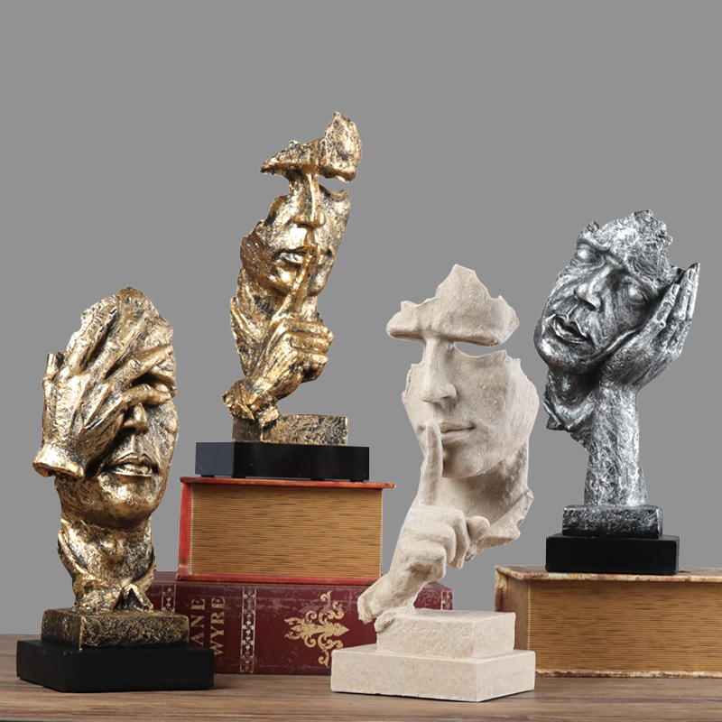 Abstract Sculpture Figurine Ornaments Silence Is Gold Office Home Desk Decoration Accessories Modern Art Resin Decoration Craft