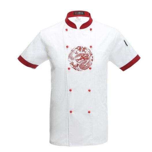 Uniforme de chef à manches courtes avec dragon chinois restaurant chef travail vêtements blanc chef vestes hôtel uniforme