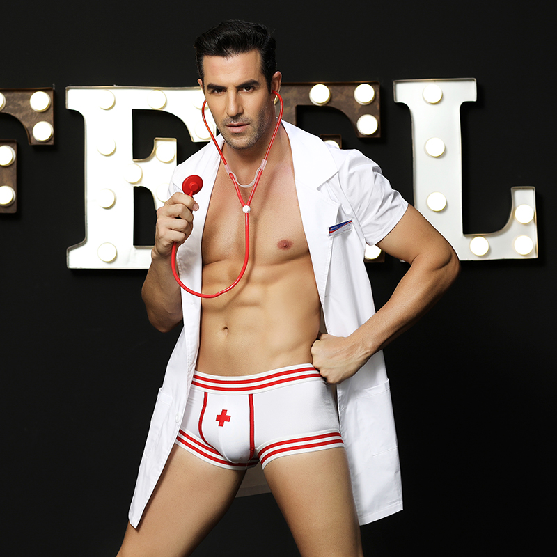 Men's <font><b>Sexy</b></font> Lingerie White Doctor Nurse Cosplay <font><b>Fancy</b></font> <font><b>Dress</b></font> Cosplay Outfit <font><b>Costume</b></font> j6602 image