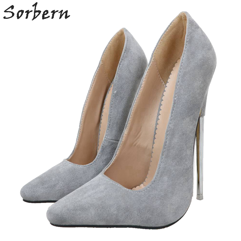 Sorbern Grey Slip On Women Pumps Metal