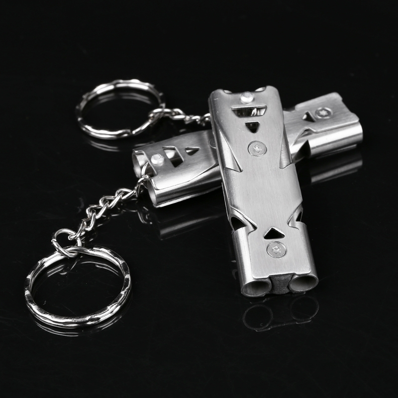 Double Tubes High Decibel Rescue Survival Emergency Whistle Outdoor Accessory