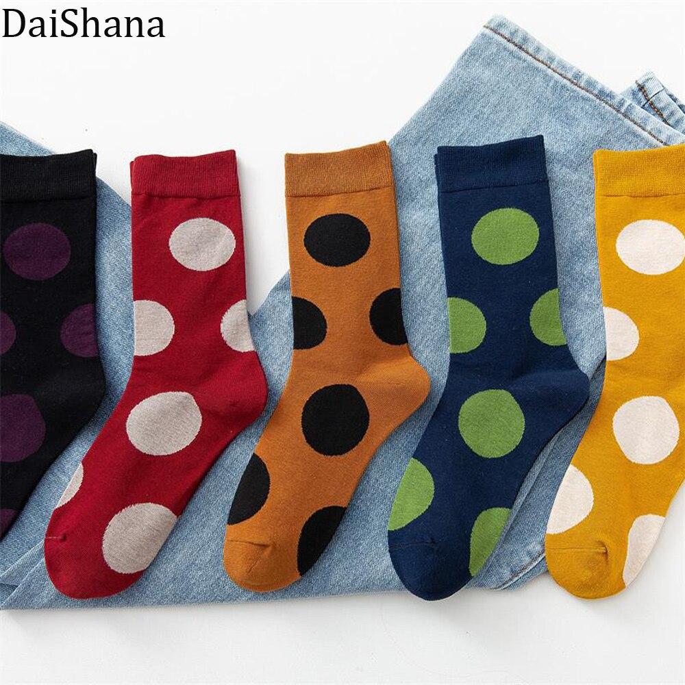 Модные уличные новые женские свободные осенне-зимние теплые Ретро повседневные милые стильные универсальные носки в горошек в стиле Харад...