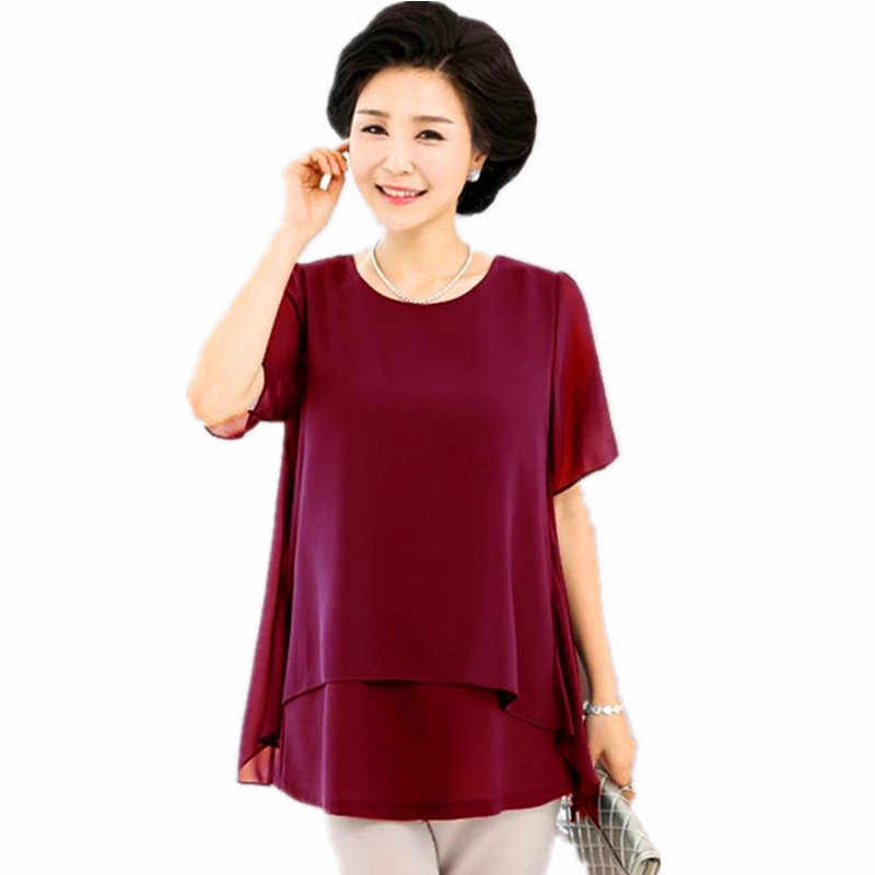 Middle Age Women Summer Tops Big Size Clothes Plus Large Size ropa mujer talla grande 4xl 5xl 6xl  Fake Two Piece Chiffon Blouse