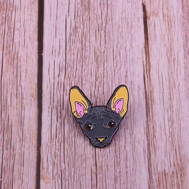Sphynx chat visage broche mignon sans cheveux chats épingle animal badge miaou cadeau pour ses femmes chemises sac à dos accessoire