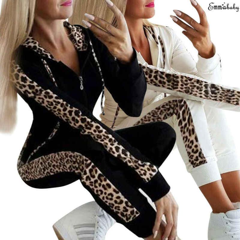 חדש אופנה נשים 2Pcs חורף סתיו נים ספורט חולצות מכנסיים אימונית נמר סווטשירט הריצה טרנינג