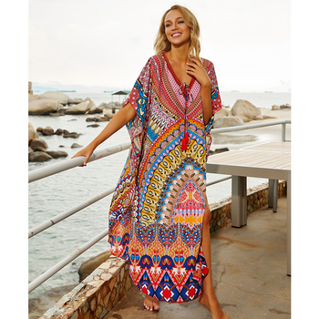 2020 Quick-drying Bohemian Printed Loose Summer Beach Dress Moroccan Kaftan Women Plus Size Beachwear Tassel Midi Dress Q897 dana kay women s plus size scarf fit and flare midi dress