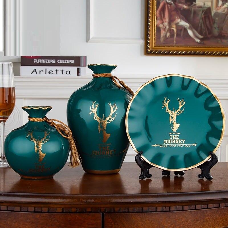 3Pcs/Set European ceramic vase dried flowers flower arrangement wobble plate living room entrance ornaments home decorations 057