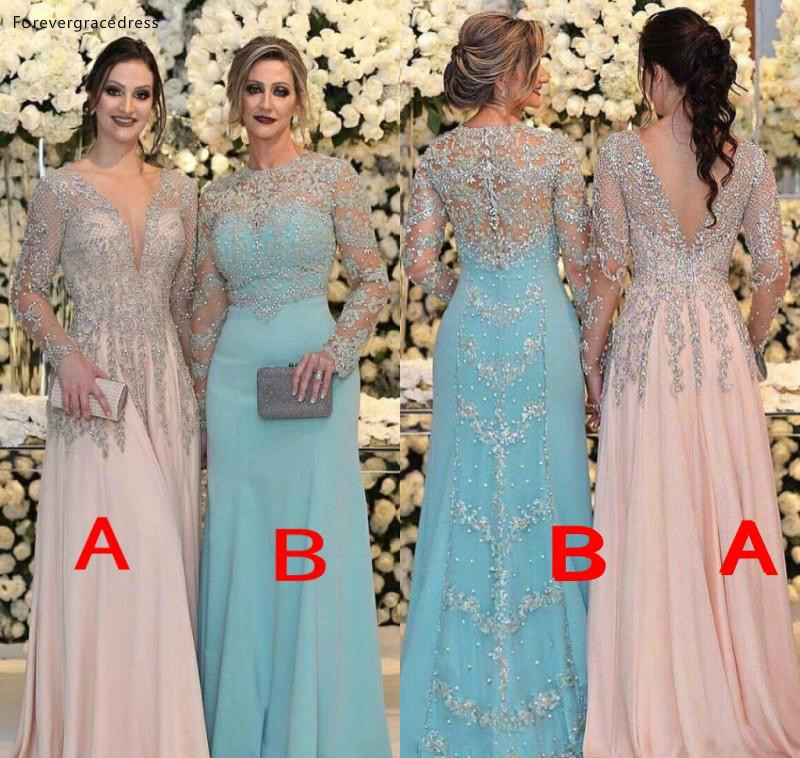 2019 Beaded Mother Of The Bride Dresses Sheer Long Sleeves Formal Godmother Evening Wedding Party Guests Gown Plus Size