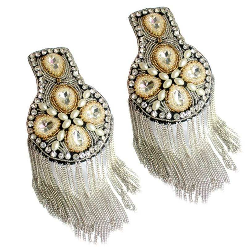 Women Men Shoulder Board Badge Rhinestone Beaded Metal Chain Tassels Epaulettes