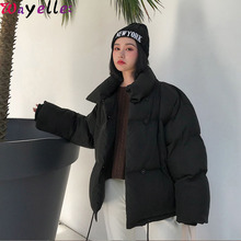 Korean Style 2019 Winter Down Jacket Women Stand Collar Solid Black White Female Coats Loose Oversized Short Parka