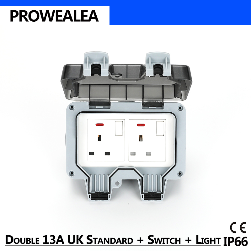 Weatherproof Socket Ip66 Usb 13a Uk Standard Switch Light