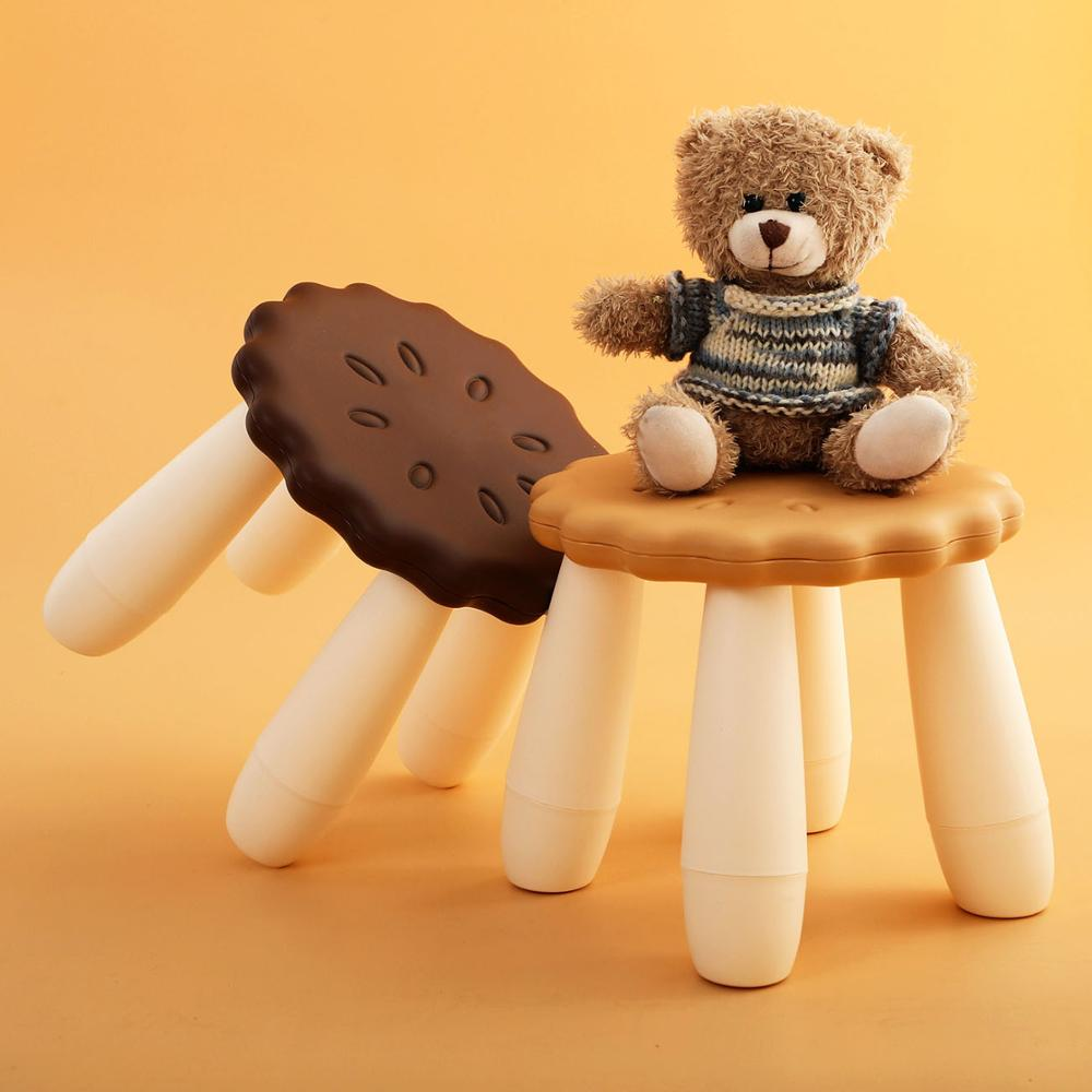 4 Legs Biscuit Shape Stool Thicken Plastic Adult Shoes Bench Children's Stool Home Furniture