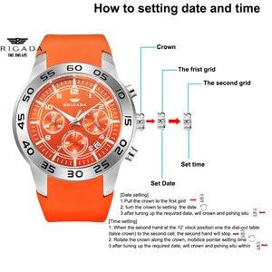 Image 2 - Бригада мужские часы кварцевые оранжевые часы 5bar Водонепроницаемый Топ Роскошные Брендовые Часы для мужчин AAA светящийся силиконовые спортивные наручные часы