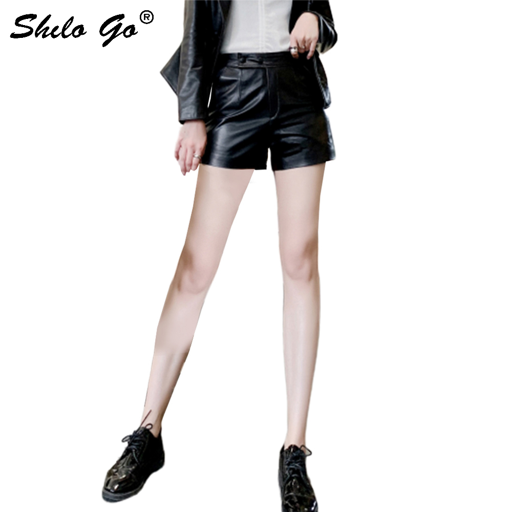 Casual Leather Shorts Women Summer Fashion Button High Waist Sheepskin Genuine Leather Shorts Streetwear Female Hot Shorts Black