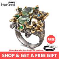 DreamCarnival 1989 Stunning CZ Rings for Women Engagement Party Vintage Flower Ring Eye Catching Olivine Zircon Jewelry WA11688