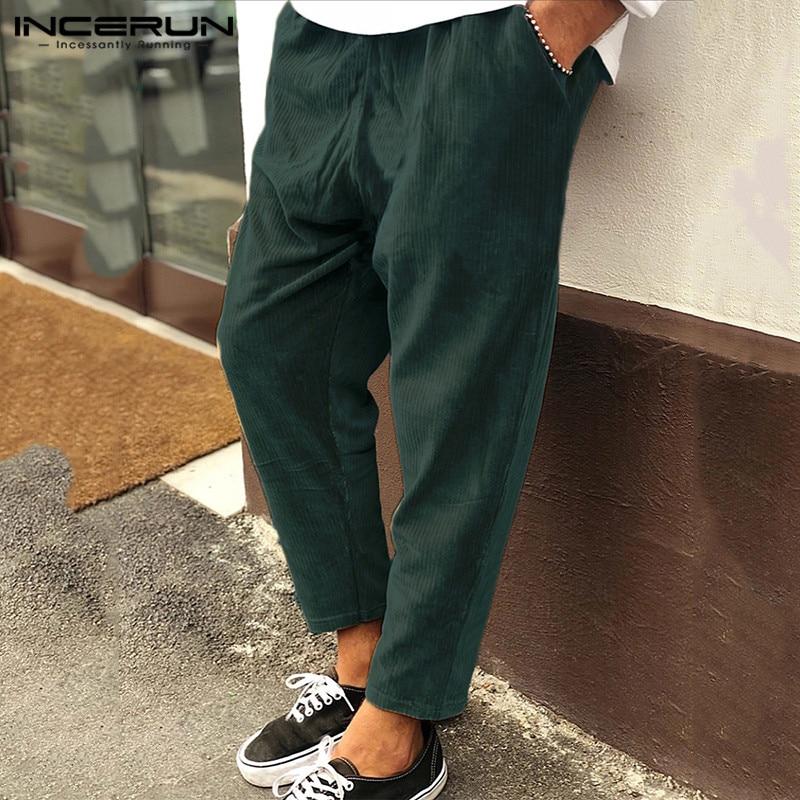 INCERUN Mens Corduroy Pants Drawstring Joggers 2019 Baggy Vintage Streetwear Solid Winter Casual Pantalon Trousers Men Plus Size