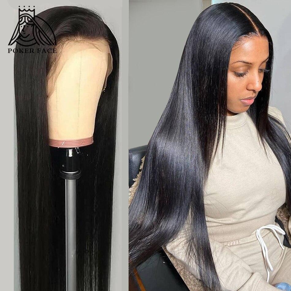 28 30 40 дюймов, бразильские Прямые 13x4 Синтетические волосы на кружеве человеческих волос парики для волос с волосами младенца 180% Плотность Си...