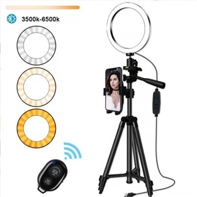 16CM LED Dimmable Ring Light Photographic Selfie Ring Lighting With Tripod Smartphone Youtube Makeup Video Studio Ring Light image