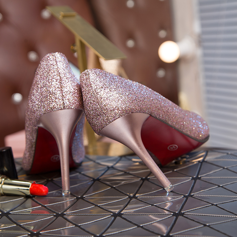 Sexy Elegant Bride Wedding Shoes Pointed Shallow Mouth Silver High Heels Fashion Thin Heels Sequin Single Shoe Party Dress Pumps