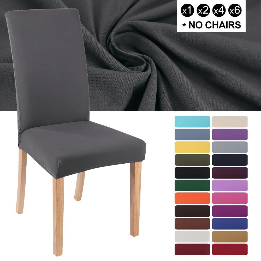 Elastik streç yemek sandalyesi kapakları çıkarılabilir katı renk sandalye koruyucu Slipcovers toz geçirmez ziyafet düğün için otel
