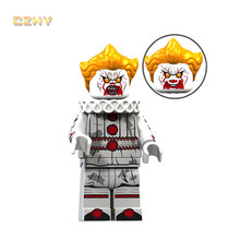 Horror Movie Mad Pennywise Clown LeGoeingly MIniFigured Beverly Chosen Jacobs Bricks Building Blocks Toys Gifts XP090(China)