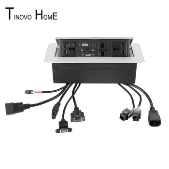 цена на Universal plug desktop socket / pop-up Table socket /hdmi USB dual network RJ45 3.5 audio information box socket / zinc alloy
