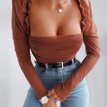 2019 Fashion Women Sheer Mesh Ruched Puff Long Sleeve Shirt Square Neck Slim Fit