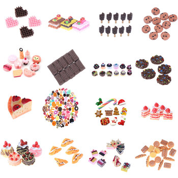 Mini Play Food Cake Biscuit Donut chocolate Miniature Pretend Toy 1/3/5/6/10pcs DollHouse Kitchen Craft DIY Accessories - discount item  30% OFF Pretend Play