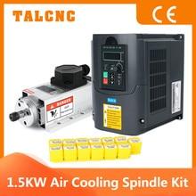 Updated CNC 1.5kw 220v/110v Square Air Cooling Spindle ER11 1500W Air-Cooled Milling Spindle + 1.5KW VFD Inverter + 13 Pcs ER11