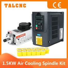Mise à jour CNC 1.5kw 220v/110v carré refroidissement par Air broche ER11 1500W refroidi par Air broche de fraisage + 1.5KW VFD onduleur + 13 pièces ER11