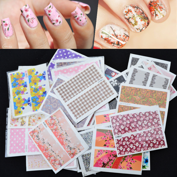 Cross Border Specifically For Foreign Trade Hot Sales Nail Sticker Wholesale Watermark Nail Sticker Manicure Flower Stickers 50