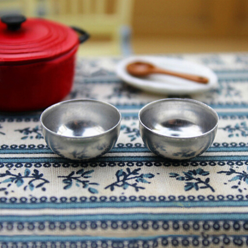 2 Pcs Mini Metal Bowl Toy Match For Families Collectible Gift Furniture Toy 1:12 Dollhouse Miniature