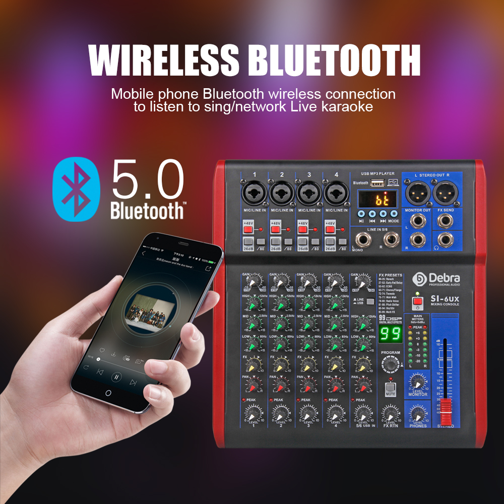 Debra Pro 6 Channel DJ Controlle with 99DSP Reverb effect Bluetooth 5.0 USB Mixer USB for karaoke PC recording condenser mic