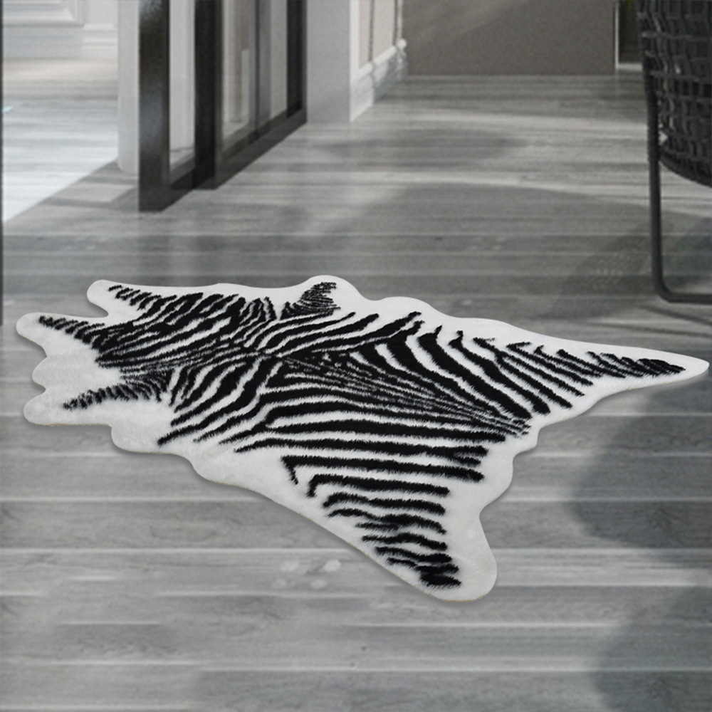 220*170cm Zebra Animal Printed Carpet Velvet Imitation Leather Rugs Fur Animal Skins Natural Shape Carpets Non-slip Mats