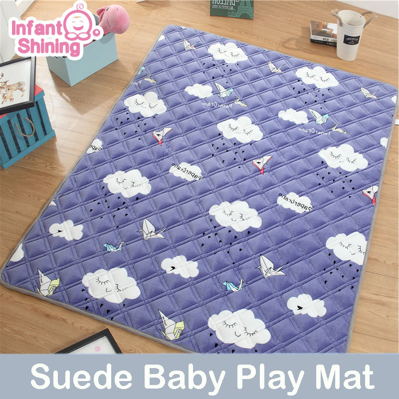 Infant Shining 1 5CM Baby Play Mat 180X200CM Suede Pad For Children Thickening Baby Crawling Mat