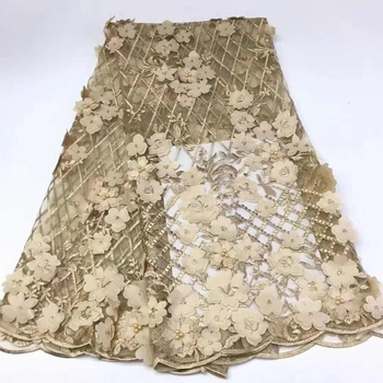 High Quality Tulle Lace Handmade 3D FlowerAppliqued With Beads Champagne African French Wedding Lace Fabrics For Women FJ2788