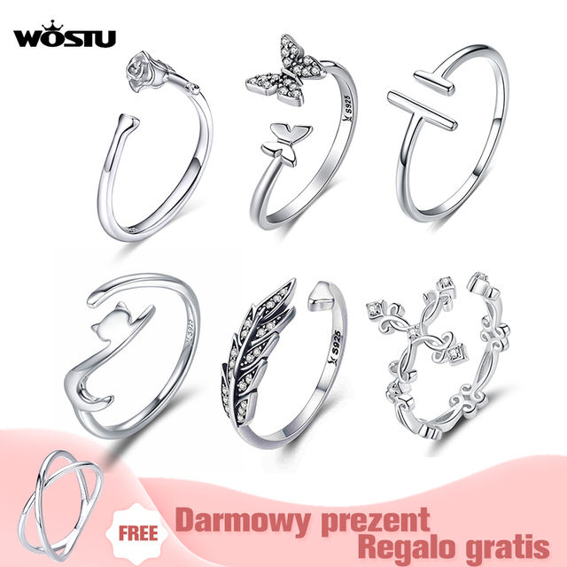 Adjustable Rings Authentic 925 Sterling Silver Stackable Engagement Zircon Open Size Rings For Women Female Original Jewelry
