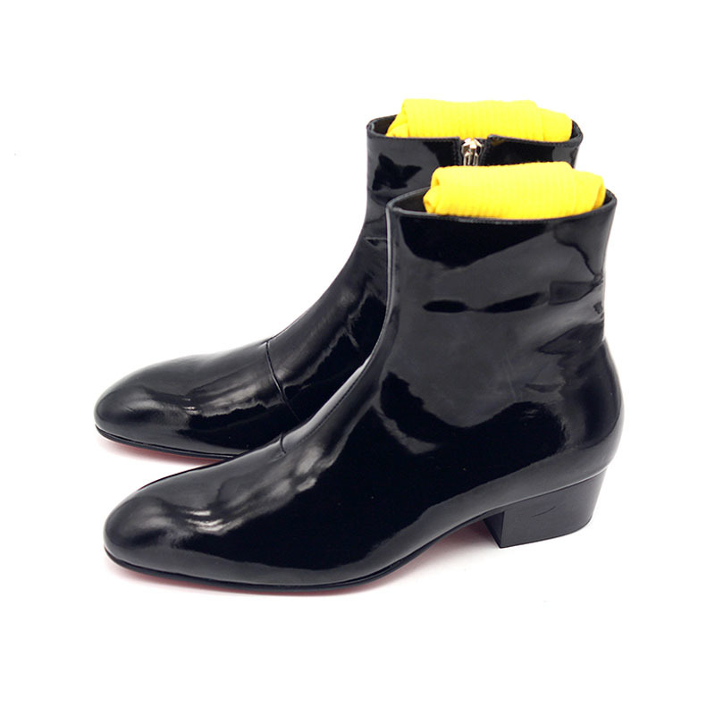 Runway High Heels Men Shoes Increase Height 5CM Classic Black Zipper Handmade Pointe Abkle Boots Men Made Of Genuine Leather