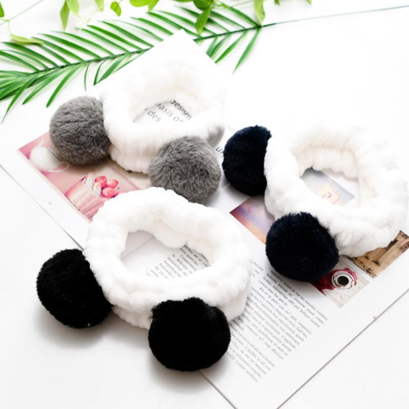 Helisopus Elastic Cute Panda Ear Soft Carol Fleece Headband For Women Makeup Shower Washing Face Spa Mask Head Wraps
