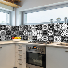 black white kitchen floor tile